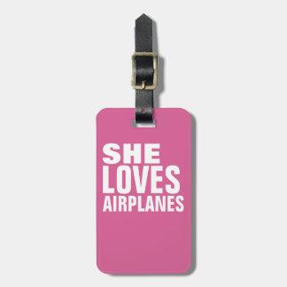 ella ama los aeroplanos, rosa etiqueta para maletas