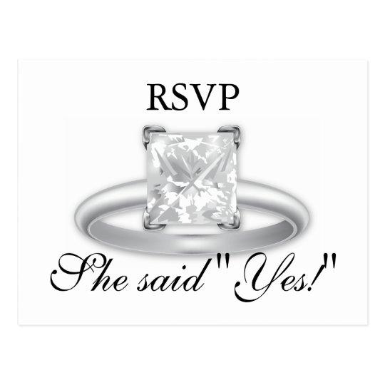 ¡Ella dijo sí! Tarjetas de RSVP del anillo de