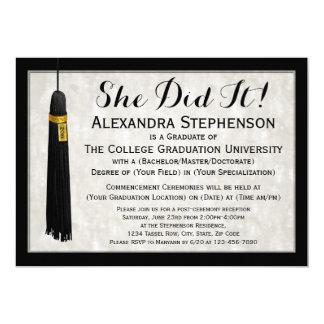 Ella lo hizo graduación de la universidad de la invitación 12,7 x 17,8 cm