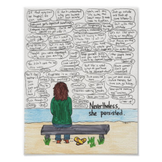 Ella persistió (depresión y ansiedad) 8.5x11 póster