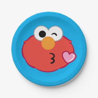 Elmo hace frente a lanzar un beso plato de papel