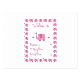 Embarazo Announ del elefante rosado Postal