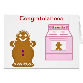 Embarazo del pan de jengibre tarjeta de felicitación
