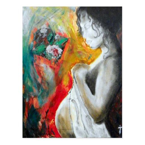 embarazo-pintura tarjetas postales