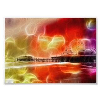 Embarcadero abstracto colorido de Santa Mónica Impresion Fotografica