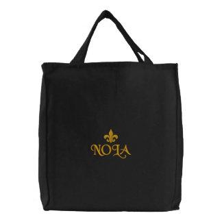 Emblema de la flor de lis de NOLA Bolsa De Tela Bordada