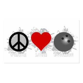 Emblema de los bolos del amor de la paz tarjetas de visita