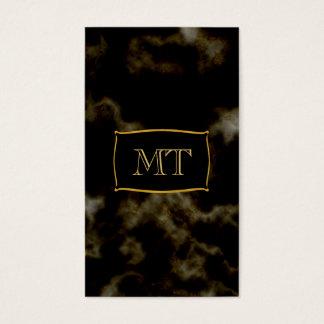Emblema de mármol de oro del monograma del negro tarjeta de negocios