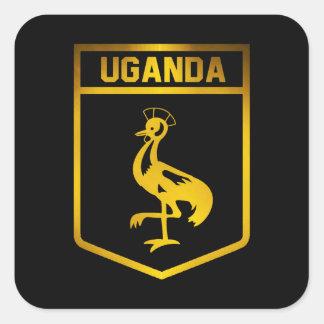 Emblema de Uganda Pegatina Cuadrada