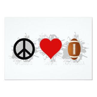 Emblema del fútbol del amor de la paz invitación 12,7 x 17,8 cm