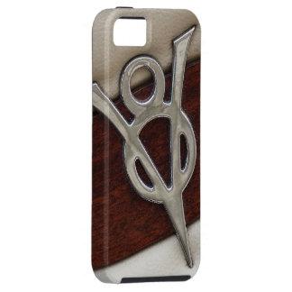 Emblema fresco del cromo de V8 con cuero y madera Funda Para iPhone SE/5/5s