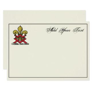 Emblema heráldico rojo de la flor de lis del invitación 12,7 x 17,8 cm