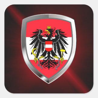 Emblema metálico de Austria Pegatina Cuadrada