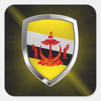 Emblema metálico de Brunei Pegatina Cuadrada