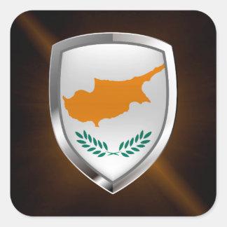 Emblema metálico de Chipre Pegatina Cuadrada