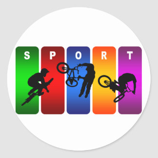 Emblema multicolor de BMX Pegatinas Redondas