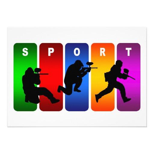 Emblema multicolor de Paintball Invitaciones Personales