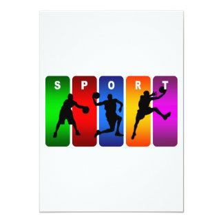 Emblema multicolor del fútbol invitación 12,7 x 17,8 cm