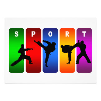 Emblema multicolor del karate invitaciones personalizada