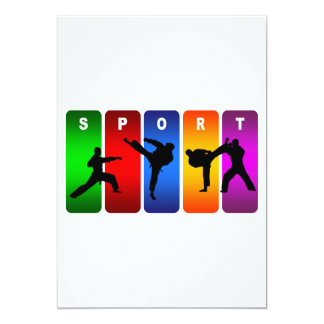Emblema multicolor del karate invitación 12,7 x 17,8 cm
