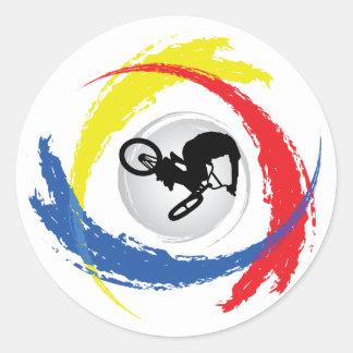 Emblema tricolor de BMX Pegatina Redonda