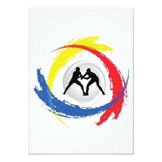 Emblema tricolor de lucha invitación 12,7 x 17,8 cm