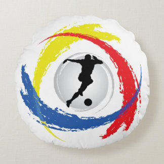 Emblema tricolor del fútbol fresco cojín redondo