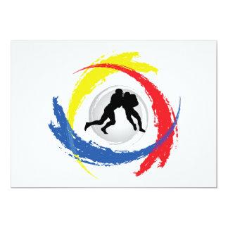 Emblema tricolor del fútbol invitación 12,7 x 17,8 cm