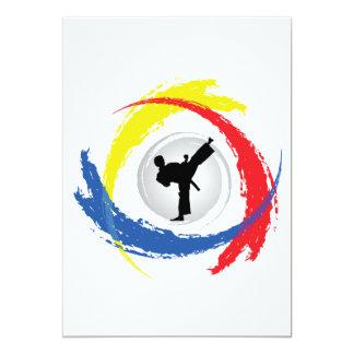 Emblema tricolor del karate invitación 12,7 x 17,8 cm
