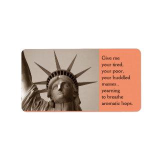 Embotelle a señora de etiquetado Liberty alterada Etiqueta De Dirección