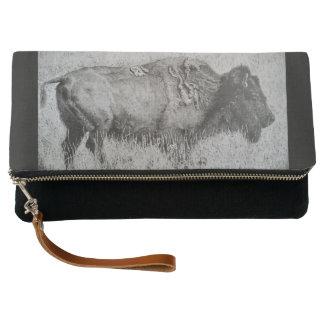 Embrague alineado negro del bisonte americano bolso de noche