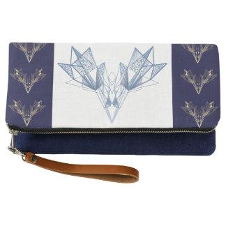 Embrague azul geométrico del diseñador del Protea Clutch