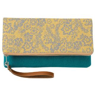 Embrague floral del vintage amarillo brillante clutch