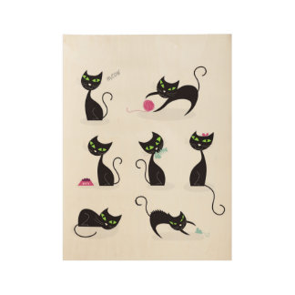 Embroma el poster de madera con los gatos negros
