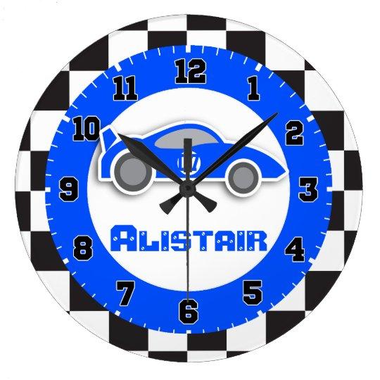 Embroma el reloj de pared a cuadros azul del - Reloj de pared diseno ...