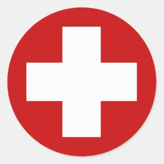 Emergencia suiza Roundell de la Cruz Roja Pegatinas