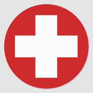 Emergencia suiza Roundell de la Cruz Roja Pegatinas Redondas