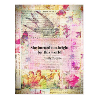 Emily Brontë, cita de Cumbres borrascosas Postal