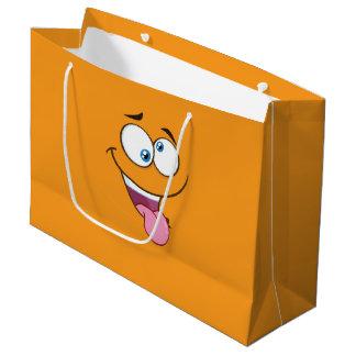 Emoji cuadrado torpe tonto bolsa de regalo grande