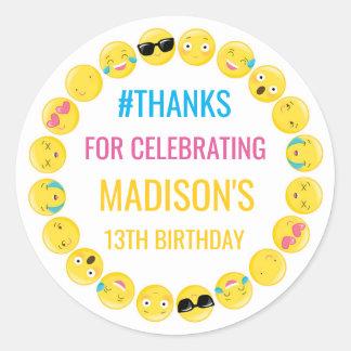 Emoji personalizó etiquetas del favor del pegatina redonda