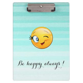 Emoji sonriente de guiño adorable Cara-Es feliz Carpeta De Pinza