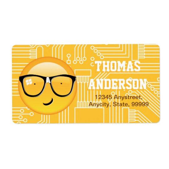 Emoji totalmente Techie ID229 Etiquetas De Envío