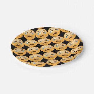 Emojis triste plato de papel