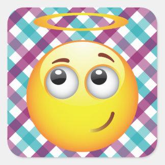Emoticon del ángel pegatinas cuadradases
