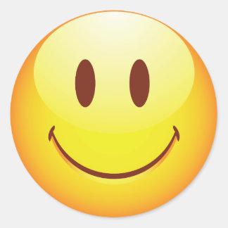 Emoticon feliz pegatina redonda