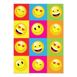 Emoticon sonriente feliz de la cara de los niños invitación 12,7 x 17,8 cm