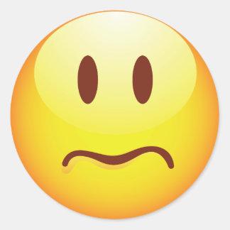 Emoticon triste pegatina redonda
