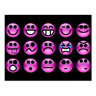 Emoticons púrpuras postal