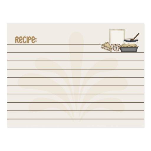 Empanada de la tarjeta de la receta tarjetas postales