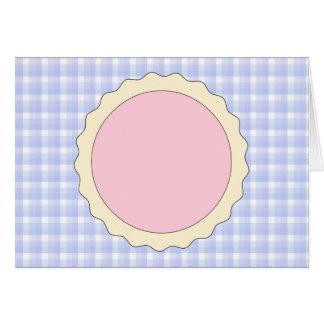 Empanada rosada. Tarta de la fresa. Control azul Tarjeta De Felicitación